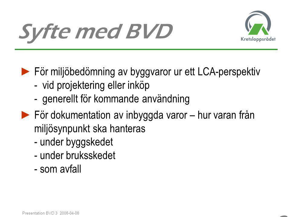 88 Presentation BVD 3 2008-04-08 Syfte med BVD ► För miljöbedömning av byggvaror ur ett LCA-perspektiv - vid projektering eller inköp - generellt för