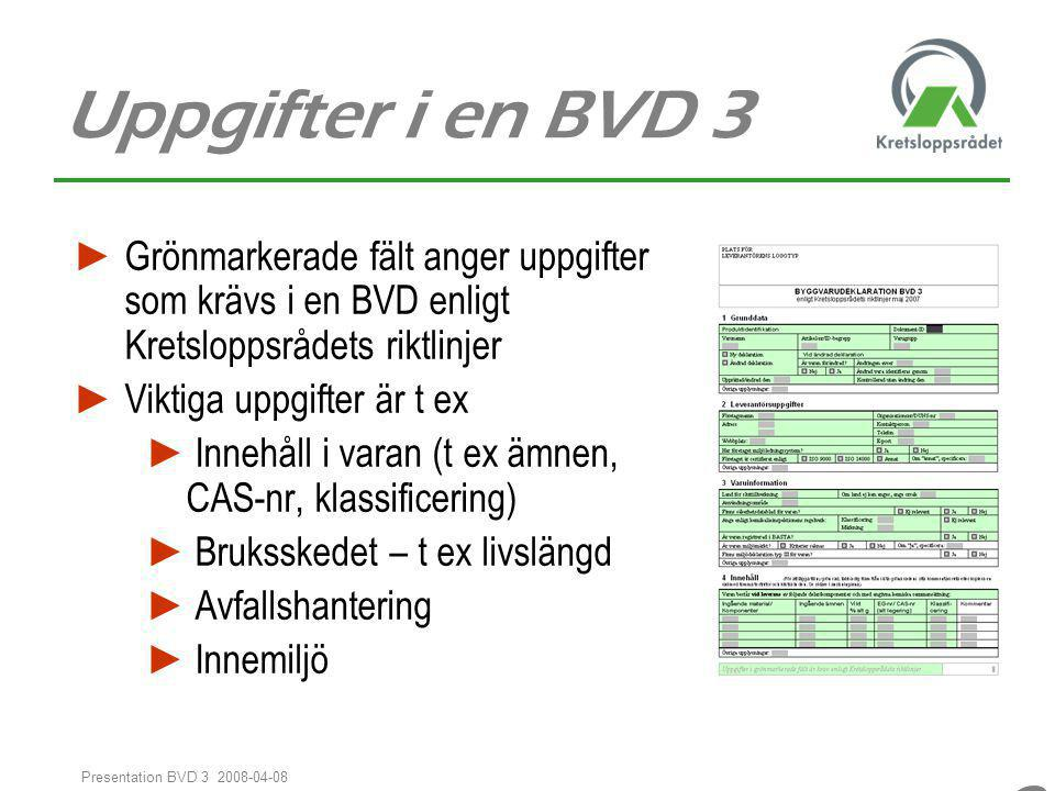 99 Presentation BVD 3 2008-04-08 Uppgifter i en BVD 3 ► Grönmarkerade fält anger uppgifter som krävs i en BVD enligt Kretsloppsrådets riktlinjer ► Vik