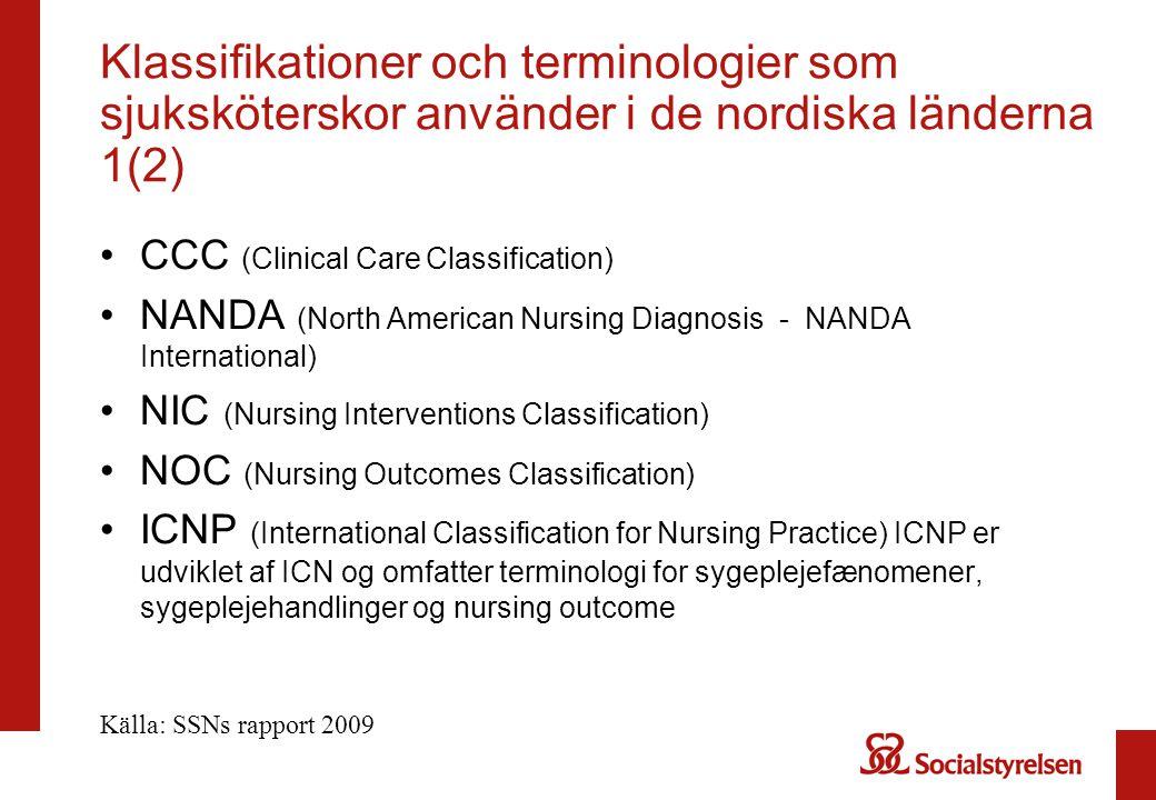 Klassifikationer och terminologier som sjuksköterskor använder i de nordiska länderna 1(2) CCC (Clinical Care Classification) NANDA (North American Nu