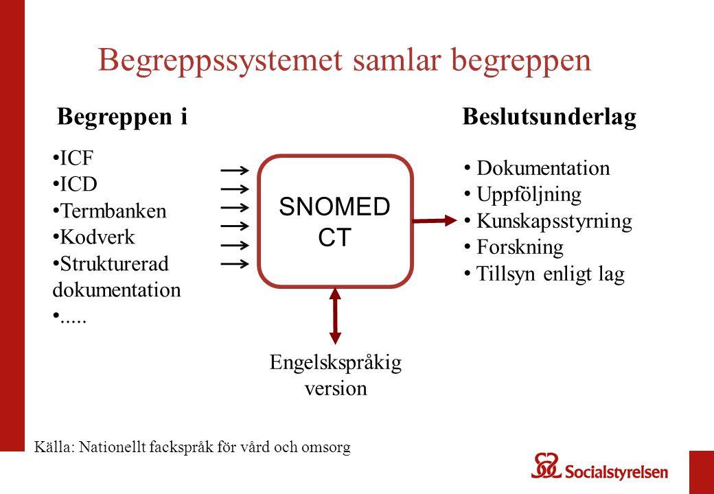 Begreppssystemet samlar begreppen SNOMED CT ICF ICD Termbanken Kodverk Strukturerad dokumentation..... Engelskspråkig version Dokumentation Uppföljnin