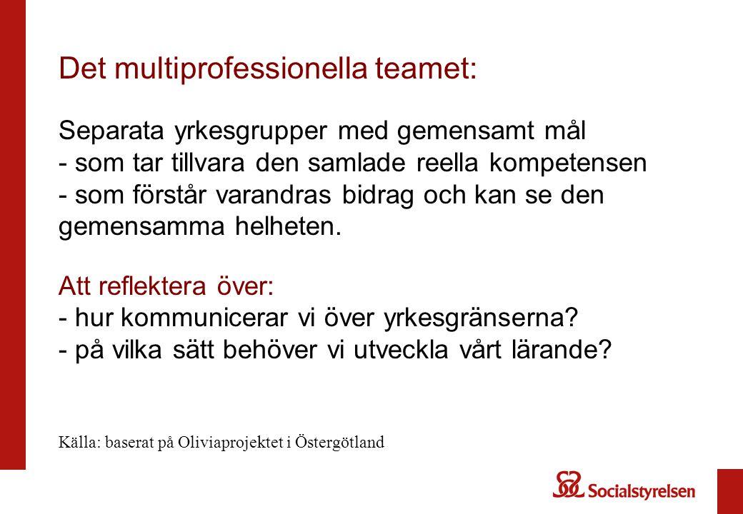 Det multiprofessionella teamet: Separata yrkesgrupper med gemensamt mål - som tar tillvara den samlade reella kompetensen - som förstår varandras bidr
