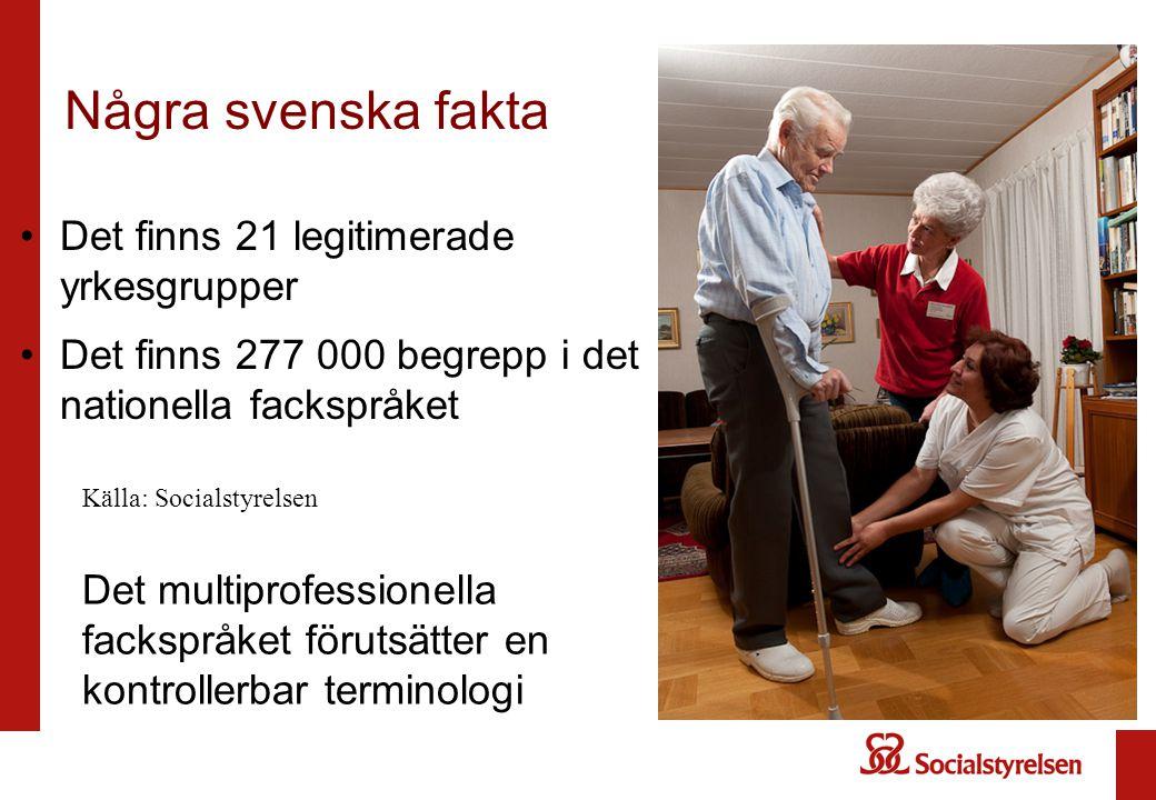 Det finns 21 legitimerade yrkesgrupper Det finns 277 000 begrepp i det nationella fackspråket Några svenska fakta Det multiprofessionella fackspråket