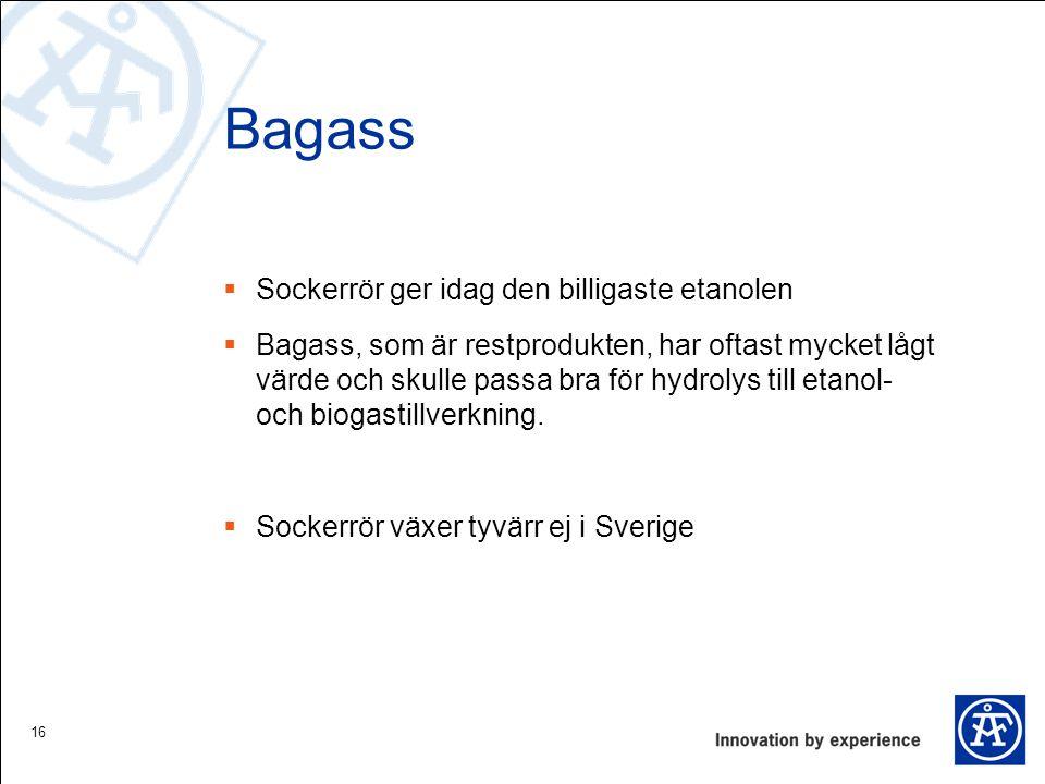 Bagass  Sockerrör ger idag den billigaste etanolen  Bagass, som är restprodukten, har oftast mycket lågt värde och skulle passa bra för hydrolys til