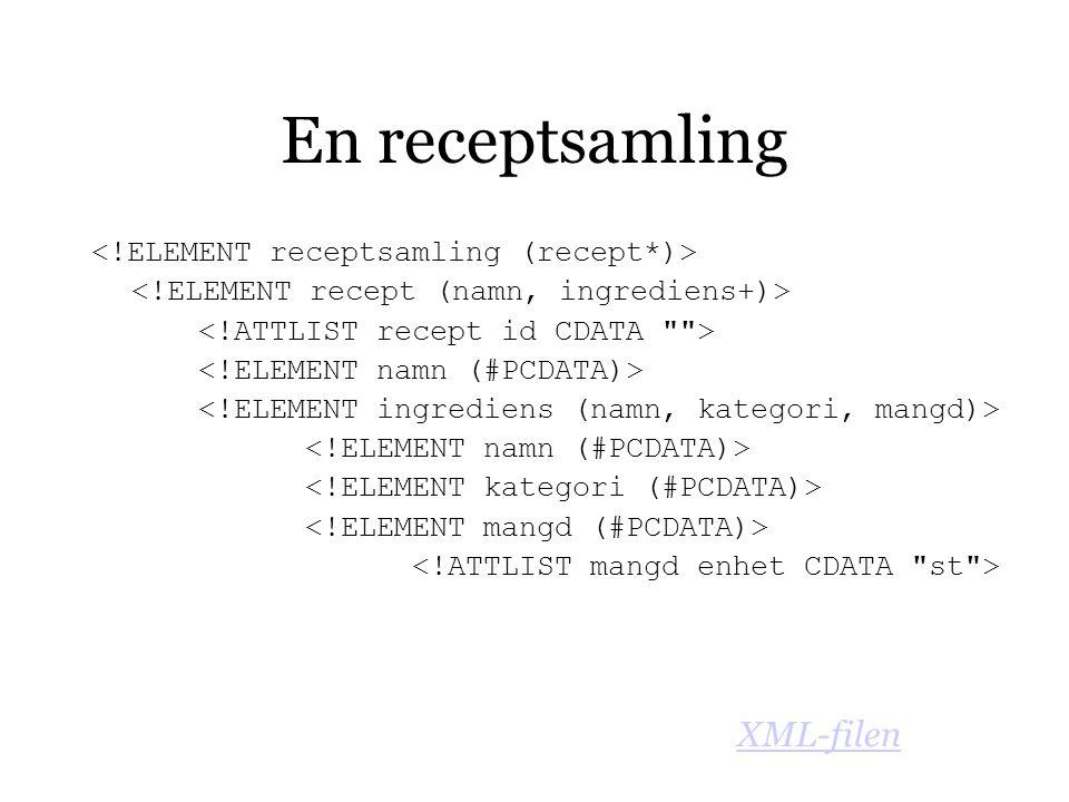 En receptsamling XML-filen