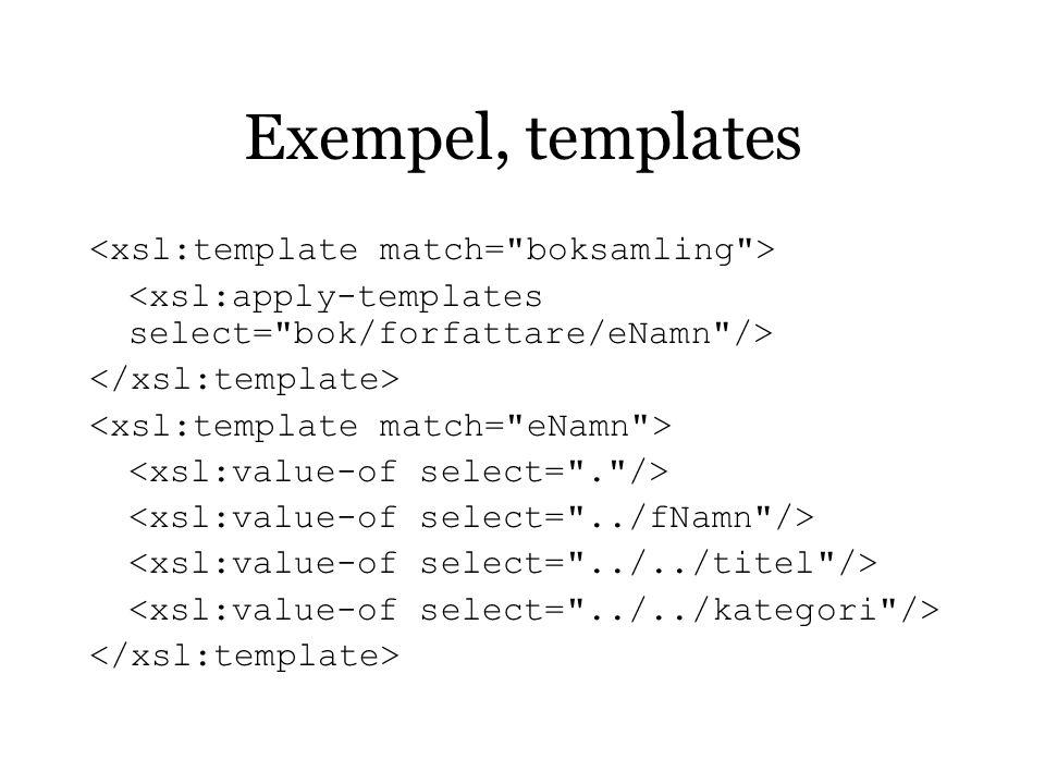 Exempel, templates