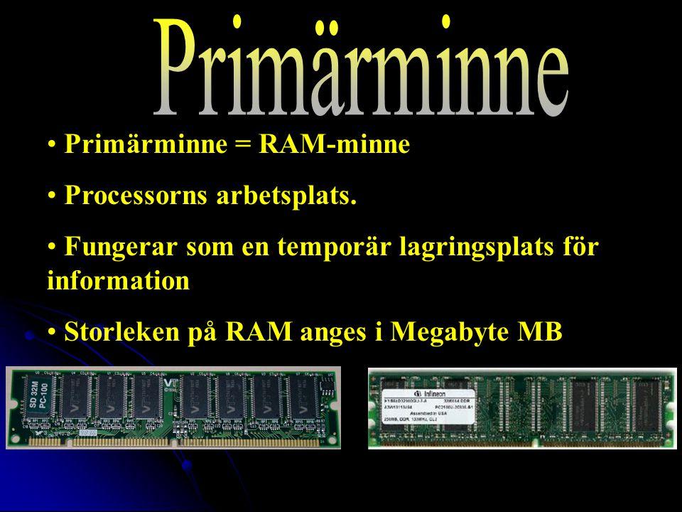 Primärminne = RAM-minne Processorns arbetsplats.
