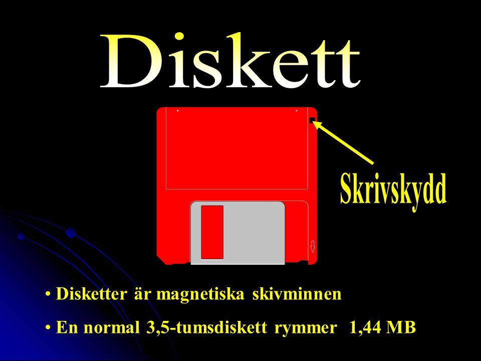 Disketter är magnetiska skivminnen En normal 3,5-tumsdiskett rymmer 1,44 MB