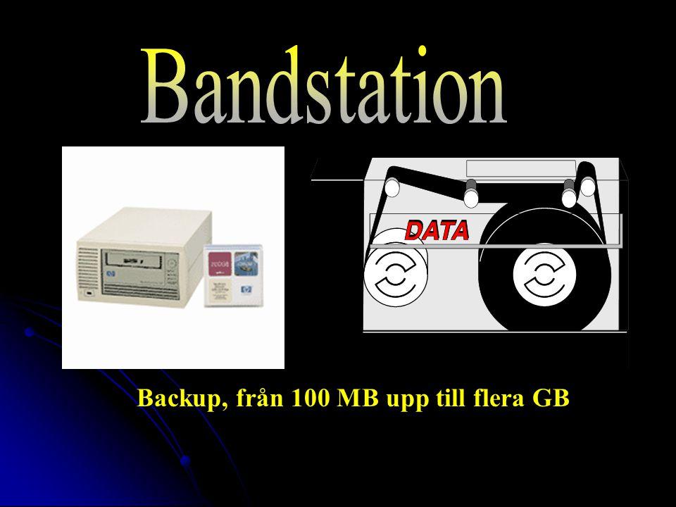 Backup, från 100 MB upp till flera GB