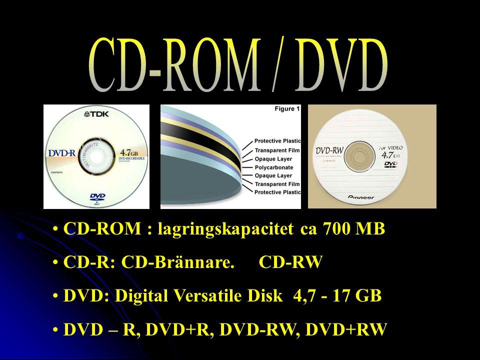 CD-ROM : lagringskapacitet ca 700 MB CD-R: CD-Brännare.