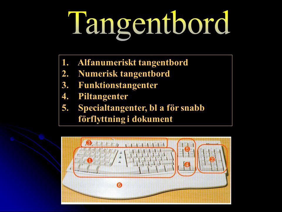 1. Alfanumeriskt tangentbord 2. Numerisk tangentbord 3.