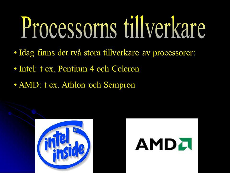 Idag finns det två stora tillverkare av processorer: Intel: t ex.