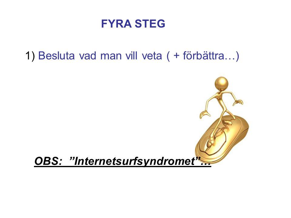 1) Besluta vad man vill veta ( + förbättra…) FYRA STEG OBS: Internetsurfsyndromet …