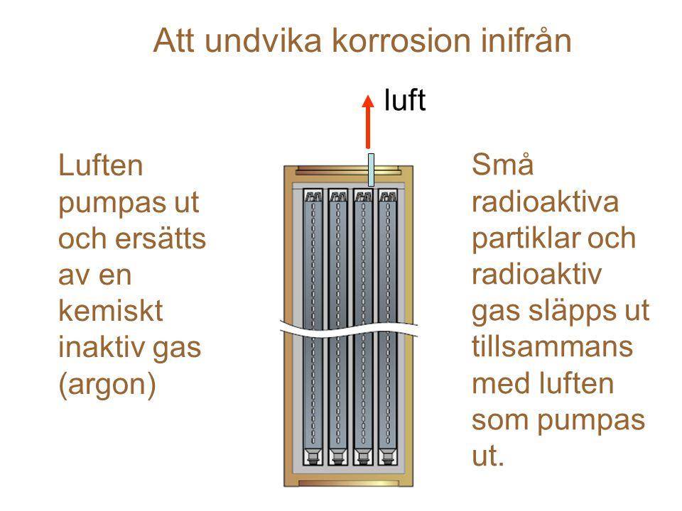 Luften pumpas ut och ersätts av en kemiskt inaktiv gas (argon) Små radioaktiva partiklar och radioaktiv gas släpps ut tillsammans med luften som pumpas ut.