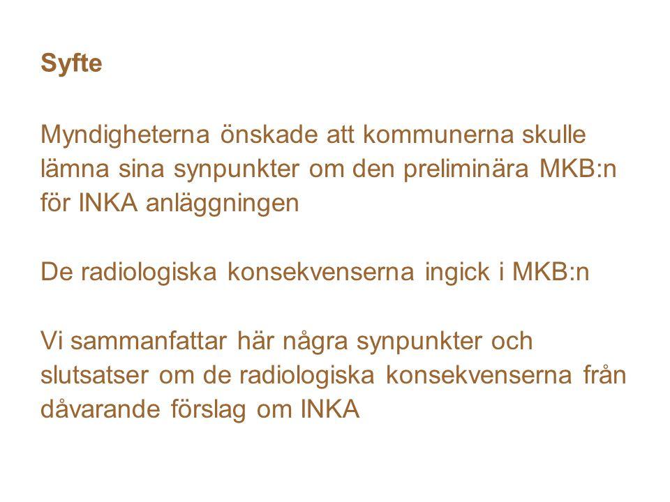 Syfte Myndigheterna önskade att kommunerna skulle lämna sina synpunkter om den preliminära MKB:n för INKA anläggningen De radiologiska konsekvenserna ingick i MKB:n Vi sammanfattar här några synpunkter och slutsatser om de radiologiska konsekvenserna från dåvarande förslag om INKA