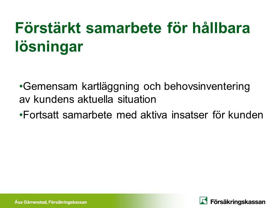 Åsa Gärrenstad, Försäkringskassan Förstärkt samarbete för hållbara lösningar Gemensam kartläggning och behovsinventering av kundens aktuella situation
