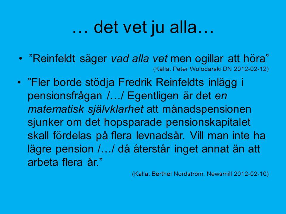 … det vet ju alla… Reinfeldt säger vad alla vet men ogillar att höra (Källa: Peter Wolodarski DN 2012-02-12) Fler borde stödja Fredrik Reinfeldts inlägg i pensionsfrågan /…/ Egentligen är det en matematisk självklarhet att månadspensionen sjunker om det hopsparade pensionskapitalet skall fördelas på flera levnadsår.