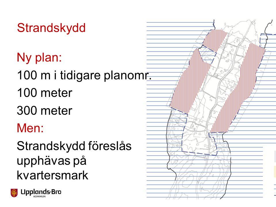 Strandskydd Ny plan: 100 m i tidigare planomr. 100 meter 300 meter Men: Strandskydd föreslås upphävas på kvartersmark
