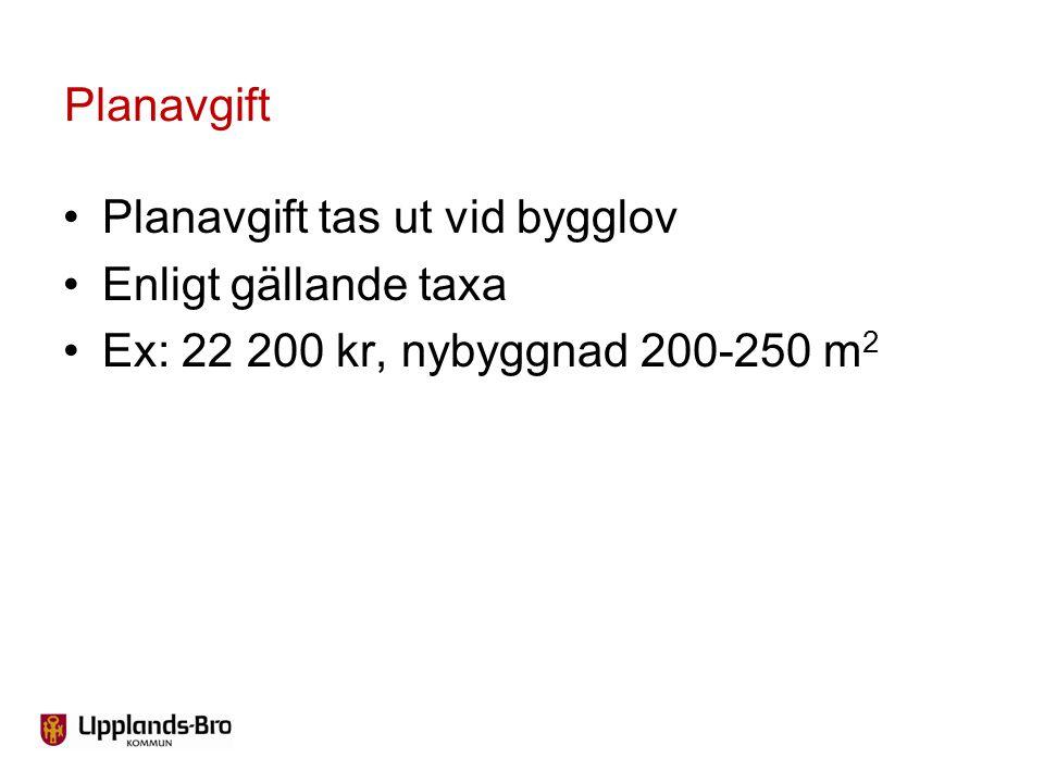 Planavgift tas ut vid bygglov Enligt gällande taxa Ex: 22 200 kr, nybyggnad 200-250 m 2 Planavgift