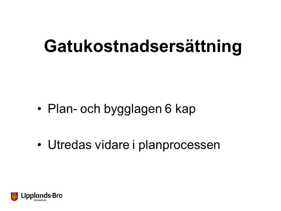 Gatukostnadsersättning Plan- och bygglagen 6 kap Utredas vidare i planprocessen