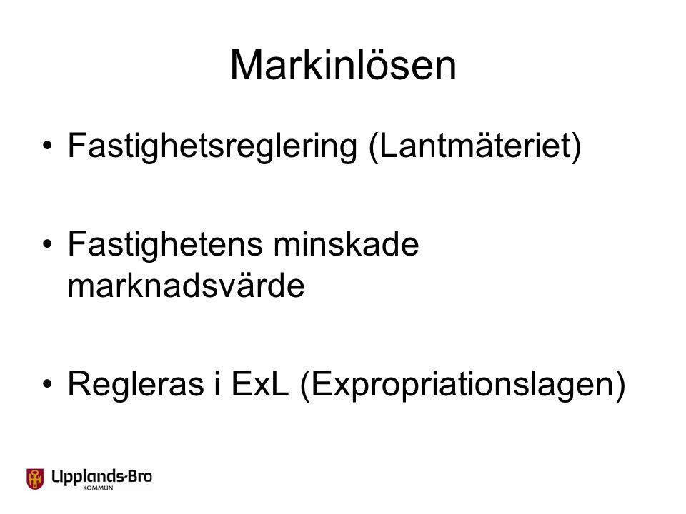 Markinlösen Fastighetsreglering (Lantmäteriet) Fastighetens minskade marknadsvärde Regleras i ExL (Expropriationslagen)