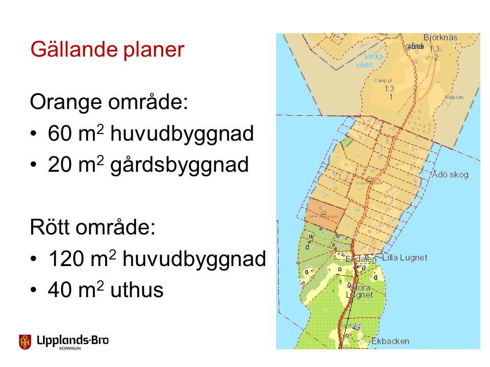 Orange område: 60 m 2 huvudbyggnad 20 m 2 gårdsbyggnad Rött område: 120 m 2 huvudbyggnad 40 m 2 uthus Gällande planer