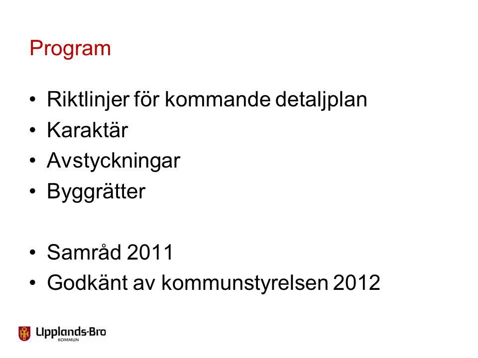 Riktlinjer för kommande detaljplan Karaktär Avstyckningar Byggrätter Samråd 2011 Godkänt av kommunstyrelsen 2012 Program
