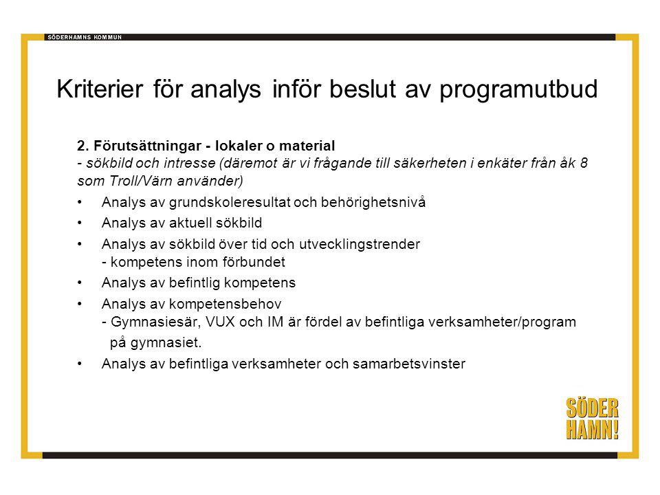 Kriterier för analys inför beslut av programutbud 2. Förutsättningar - lokaler o material - sökbild och intresse (däremot är vi frågande till säkerhet
