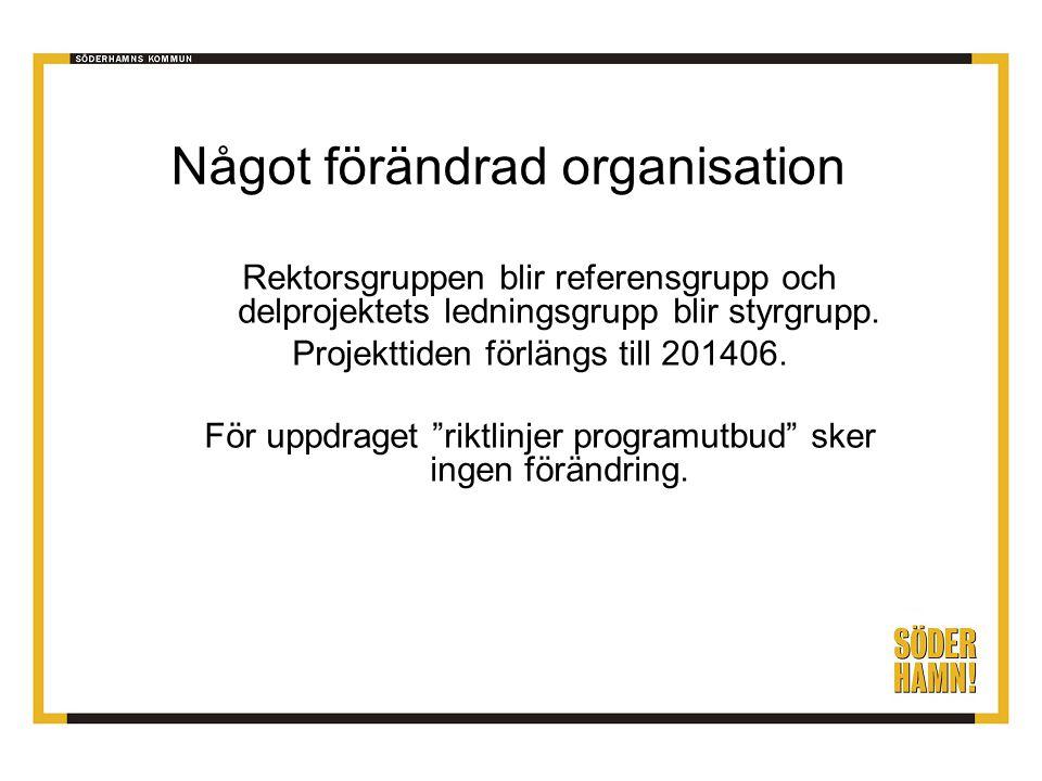 Något förändrad organisation Rektorsgruppen blir referensgrupp och delprojektets ledningsgrupp blir styrgrupp. Projekttiden förlängs till 201406. För