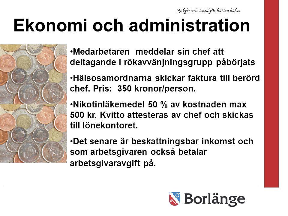 ________________________________________________________________ Rökfri arbetstid för bättre hälsa Ekonomi och administration Medarbetaren meddelar si