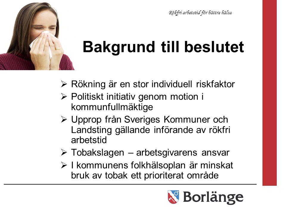 Bakgrund till beslutet  Rökning är en stor individuell riskfaktor  Politiskt initiativ genom motion i kommunfullmäktige  Upprop från Sveriges Kommu