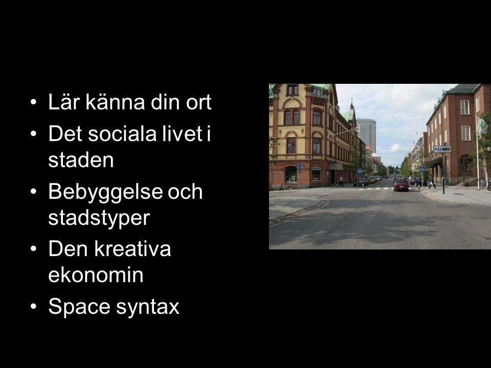 Stadens karaktär Lär känna din ort Det sociala livet i staden Bebyggelse och stadstyper Den kreativa ekonomin Space syntax
