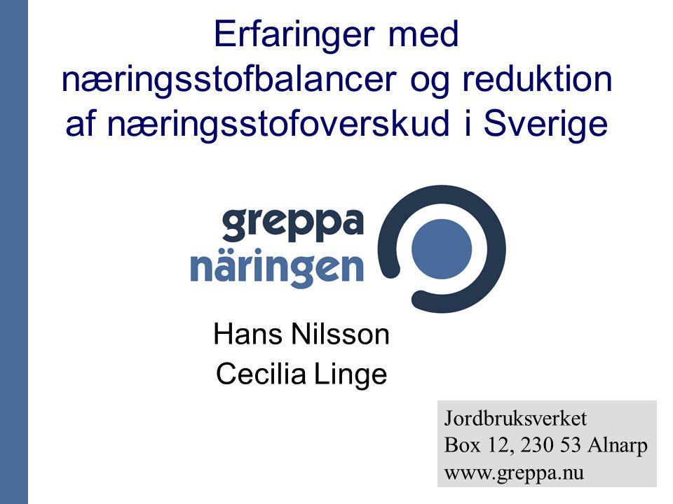 Erfaringer med næringsstofbalancer og reduktion af næringsstofoverskud i Sverige Hans Nilsson Cecilia Linge Jordbruksverket Box 12, 230 53 Alnarp www.greppa.nu