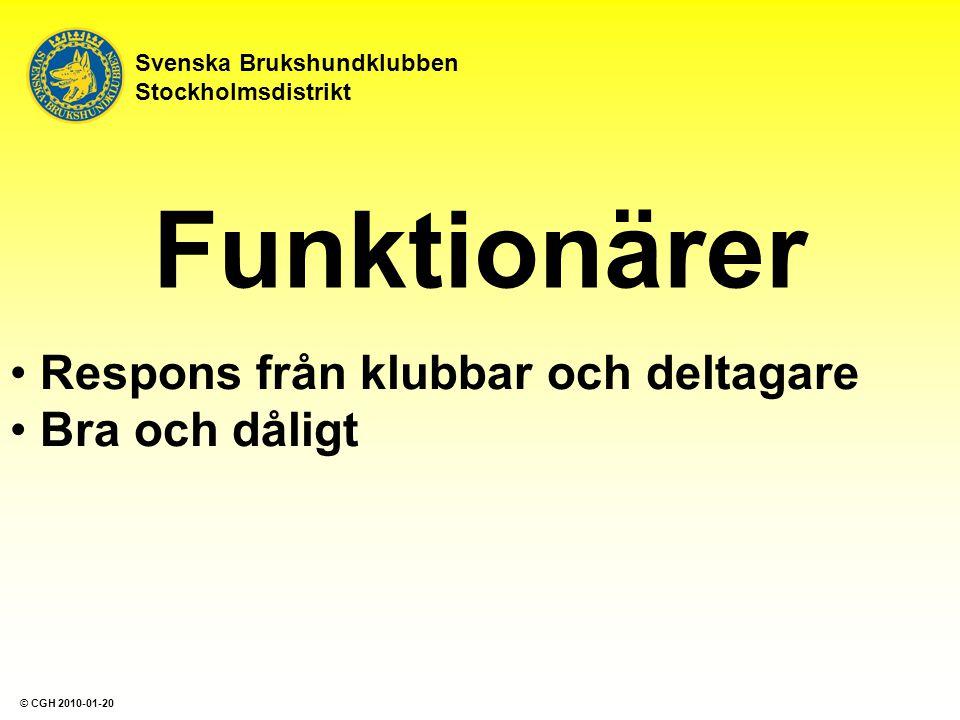 Funktionärer Respons från klubbar och deltagare Bra och dåligt Svenska Brukshundklubben Stockholmsdistrikt © CGH 2010-01-20