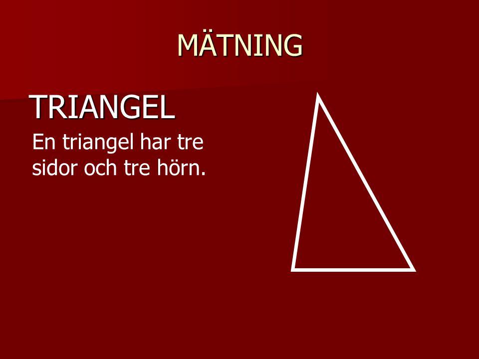 MÄTNING TRIANGEL En triangel har tre sidor och tre hörn. En triangel kan ha en rät vinkel.