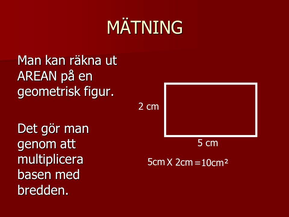 MÄTNING Man kan räkna ut AREAN på en geometrisk figur. Det gör man genom att multiplicera basen med bredden. 5 cm 2 cm 5cm =10cm² X 2cm