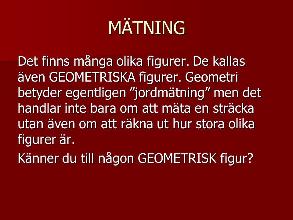 """MÄTNING Det finns många olika figurer. De kallas även GEOMETRISKA figurer. Geometri betyder egentligen """"jordmätning"""" men det handlar inte bara om att"""