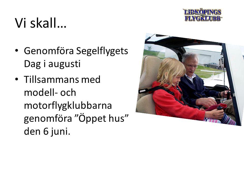 Vi skall… Genomföra Segelflygets Dag i augusti Tillsammans med modell- och motorflygklubbarna genomföra Öppet hus den 6 juni.