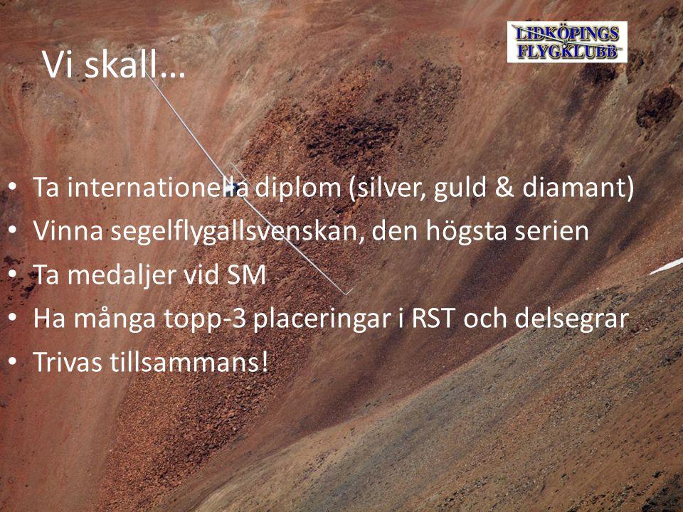 Vi skall… Ta internationella diplom (silver, guld & diamant) Vinna segelflygallsvenskan, den högsta serien Ta medaljer vid SM Ha många topp-3 placeringar i RST och delsegrar Trivas tillsammans!