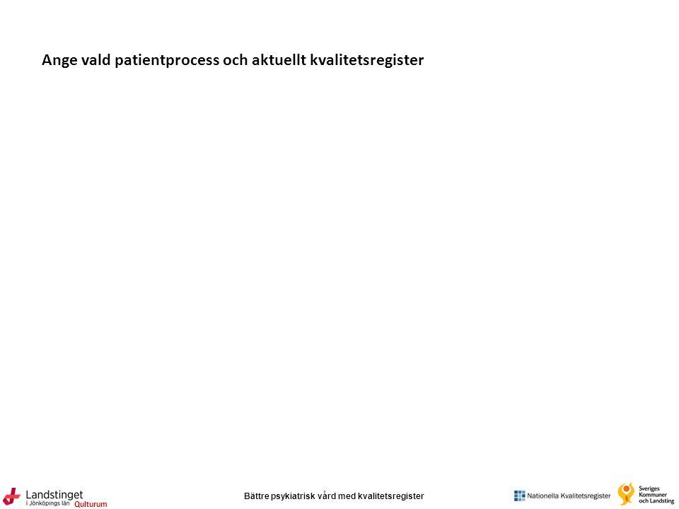Bättre psykiatrisk vård med kvalitetsregister Qulturum Ange vald patientprocess och aktuellt kvalitetsregister