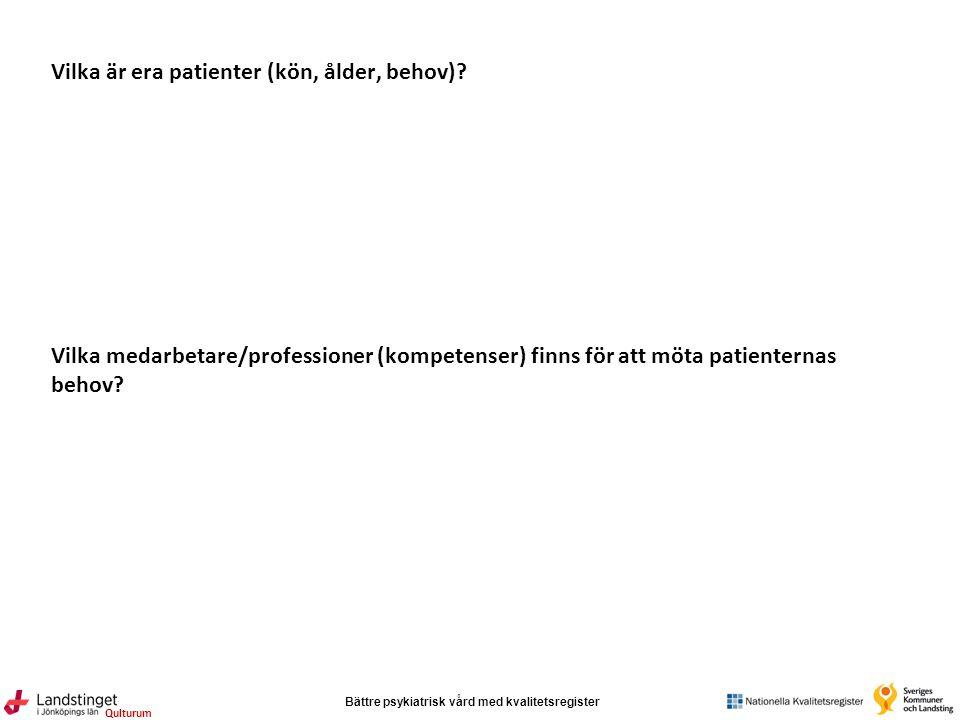 Bättre psykiatrisk vård med kvalitetsregister Qulturum Vilka är era patienter (kön, ålder, behov).