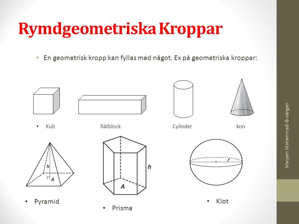 Rymdgeometriska Kroppar En geometrisk kropp kan fyllas med något. Ex på geometriska kroppar: Kub Rätblock Cylinder kon Pyramid Prisma Klot Maryam Moha