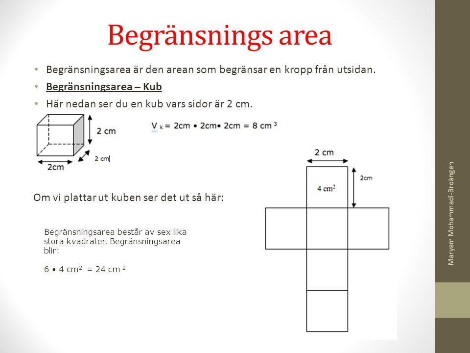 Begränsnings area Begränsningsarea är den arean som begränsar en kropp från utsidan. Begränsningsarea – Kub Här nedan ser du en kub vars sidor är 2 cm