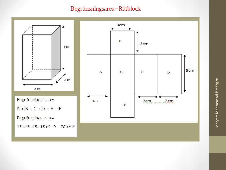 Begränsningsarea – Rätblock Begränsningsarea= A + B + C + D + E + F Begränsningsarea= 15+15+15+15+9+9= 78 cm 2 Maryam Mohammadi-Broängen