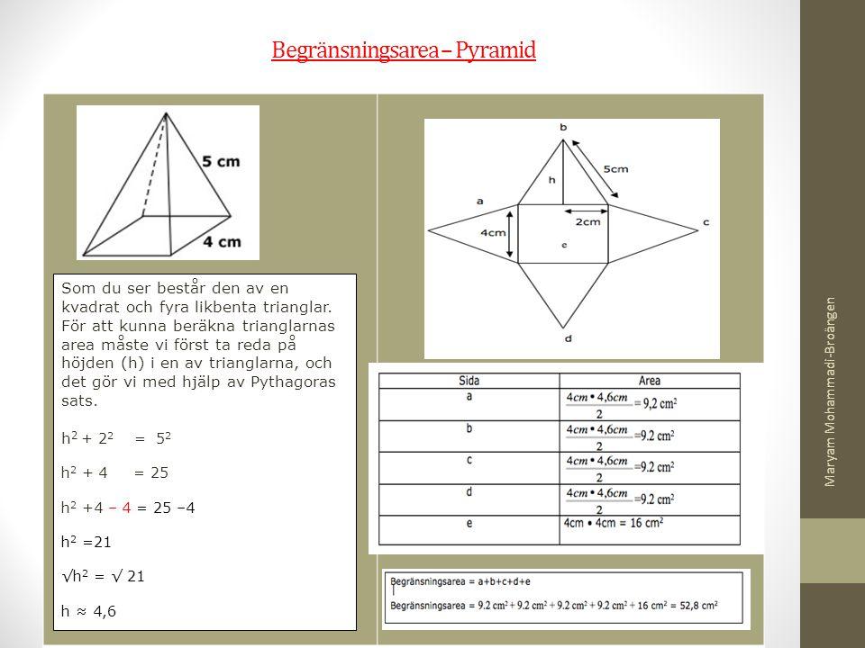Begränsningsarea – Pyramid Som du ser består den av en kvadrat och fyra likbenta trianglar. För att kunna beräkna trianglarnas area måste vi först ta