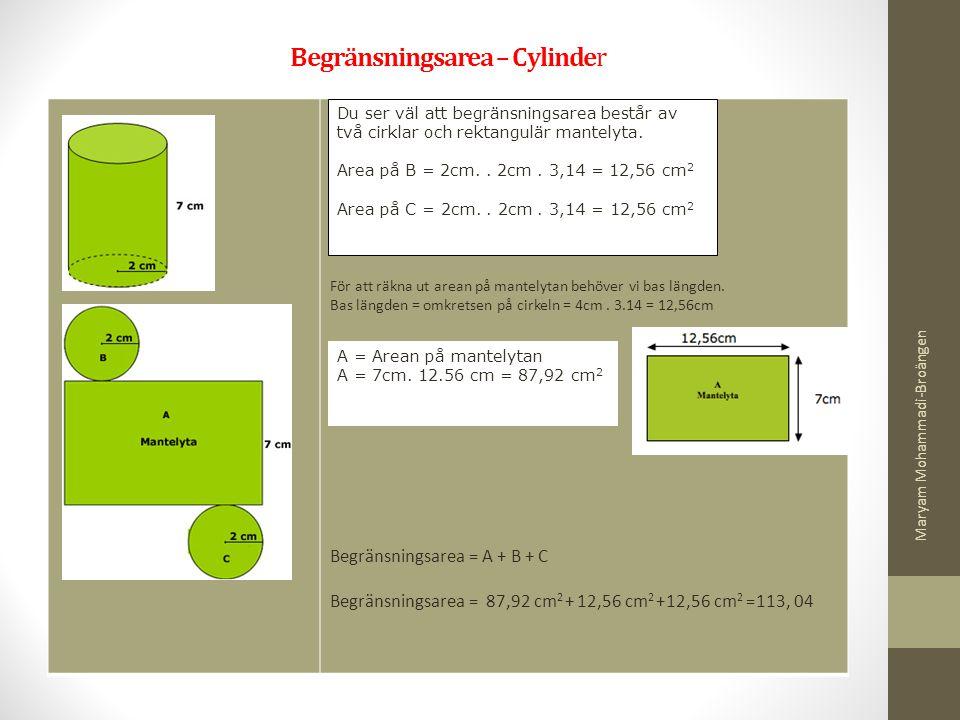 Begränsningsarea – Cylinder För att räkna ut arean på mantelytan behöver vi bas längden. Bas längden = omkretsen på cirkeln = 4cm. 3.14 = 12,56cm Begr