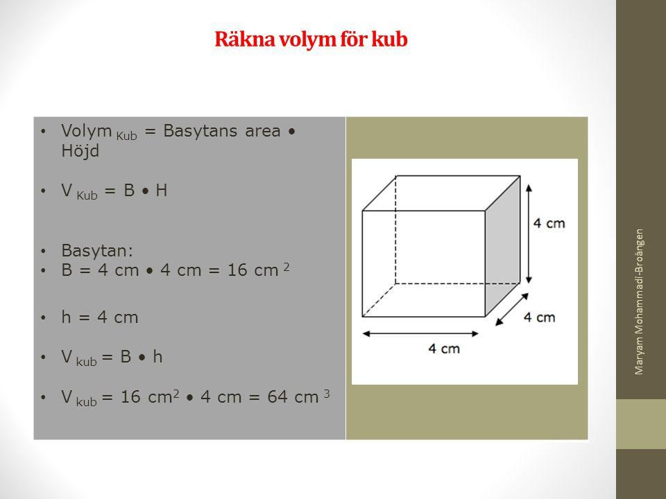 Räkna volym för kub Volym Kub = Basytans area Höjd V Kub = B H Basytan: B = 4 cm 4 cm = 16 cm 2 h = 4 cm V kub = B h V kub = 16 cm 2 4 cm = 64 cm 3 Ma