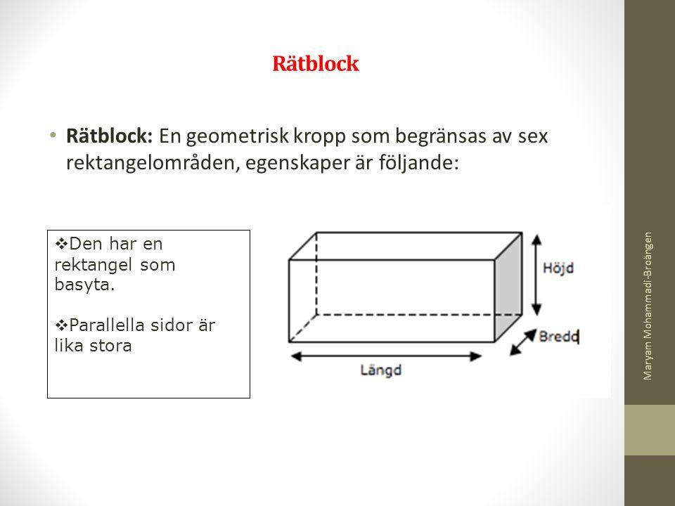 Rätblock Rätblock: En geometrisk kropp som begränsas av sex rektangelområden, egenskaper är följande:  Den har en rektangel som basyta.  Parallella