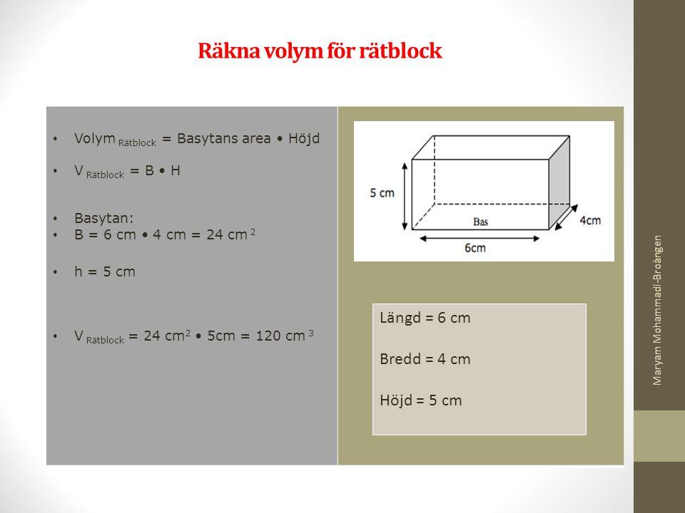 Räkna volym för rätblock Volym Rätblock = Basytans area Höjd V Rätblock = B H Basytan: B = 6 cm 4 cm = 24 cm 2 h = 5 cm V Rätblock = 24 cm 2 5cm = 120