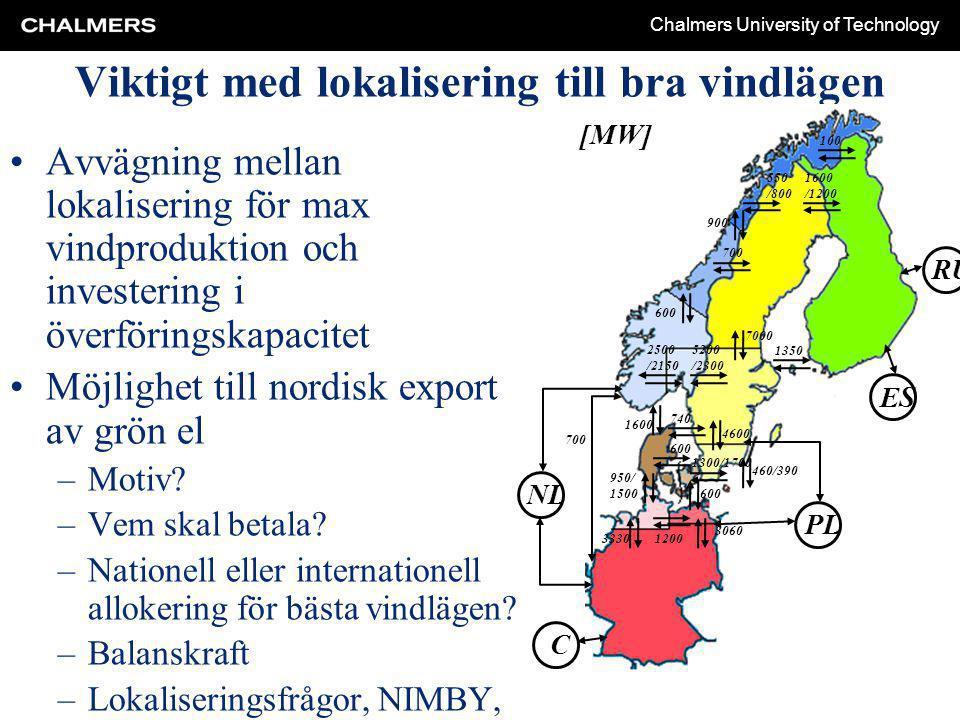 Chalmers University of Technology Viktigt med lokalisering till bra vindlägen Avvägning mellan lokalisering för max vindproduktion och investering i överföringskapacitet Möjlighet till nordisk export av grön el –Motiv.