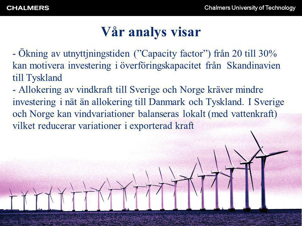 Chalmers University of Technology - Ökning av utnyttjningstiden ( Capacity factor ) från 20 till 30% kan motivera investering i överföringskapacitet från Skandinavien till Tyskland - Allokering av vindkraft till Sverige och Norge kräver mindre investering i nät än allokering till Danmark och Tyskland.